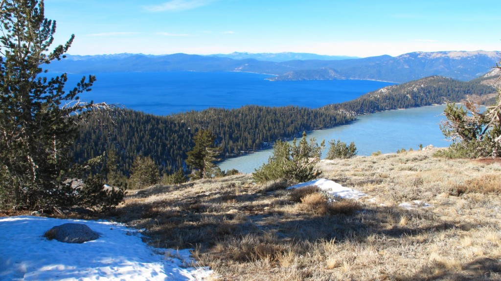 Frozen Marlette Lake above Lake Tahoe